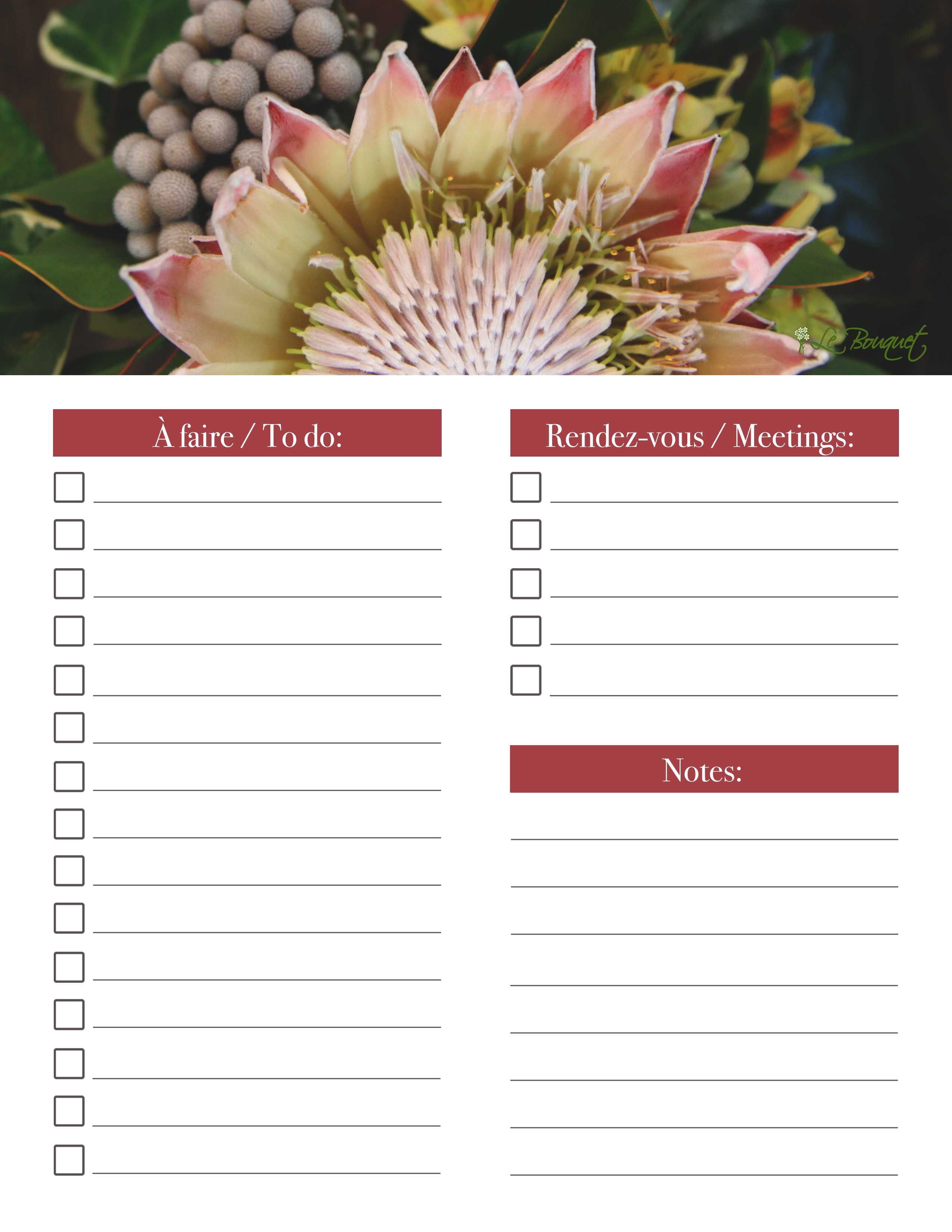 printable daily organizer - Agenda quotidien imprimable - protea