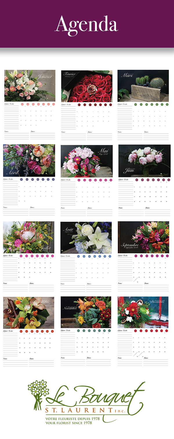 agenda style printable free calendar 2018 from Montreal flower delivery experts Le Bouquet St Laurent.png