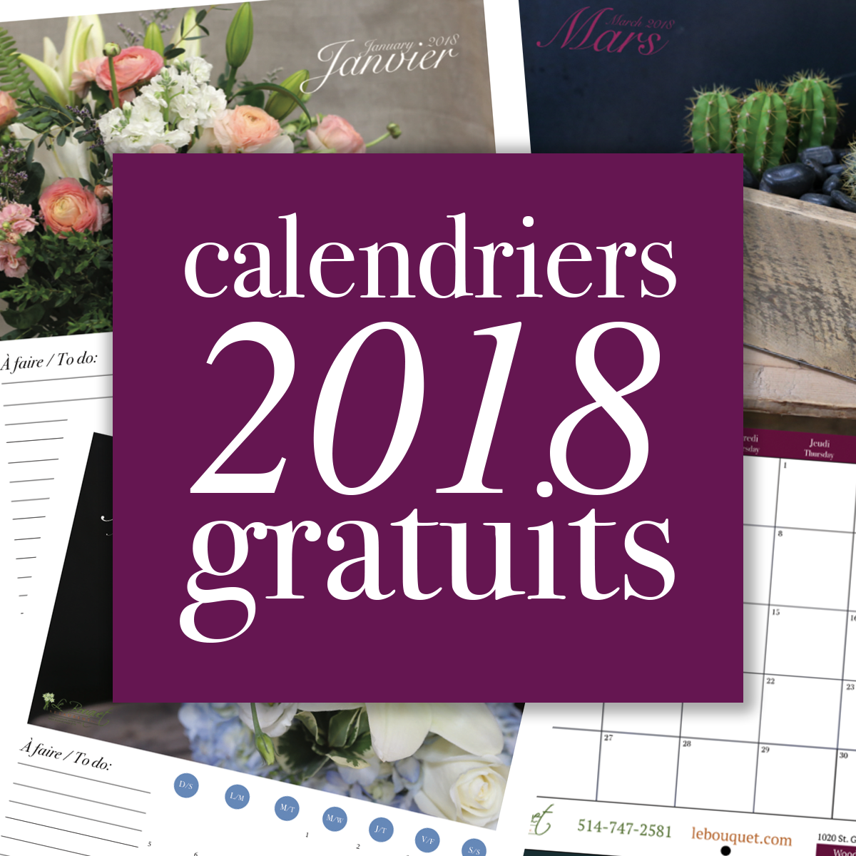 2018 calendriers gratuits par fleuriste Montreal Le Bouquet St Laurent