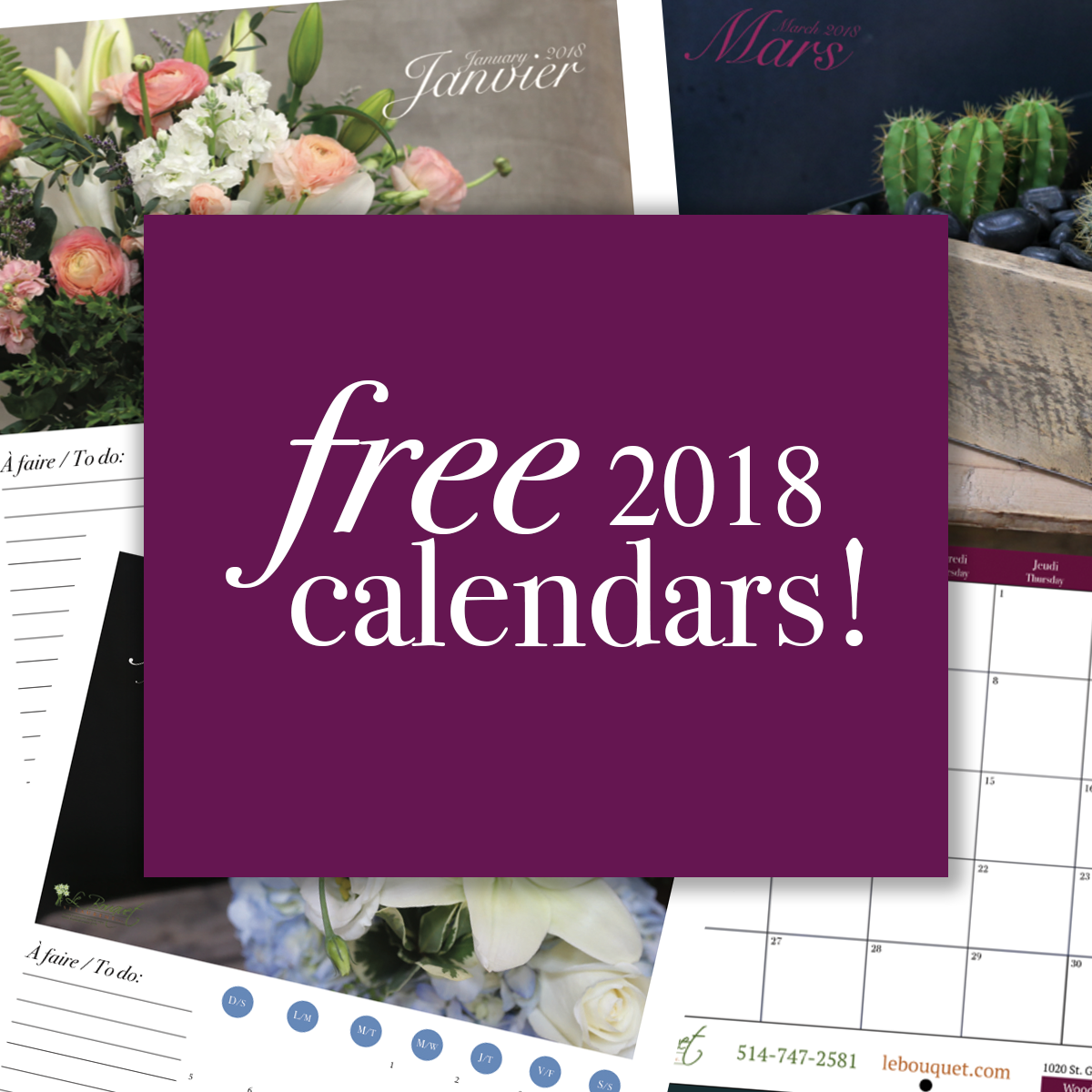 free downloadable calendars from Montreal based florist Le Bouquet St Laurent