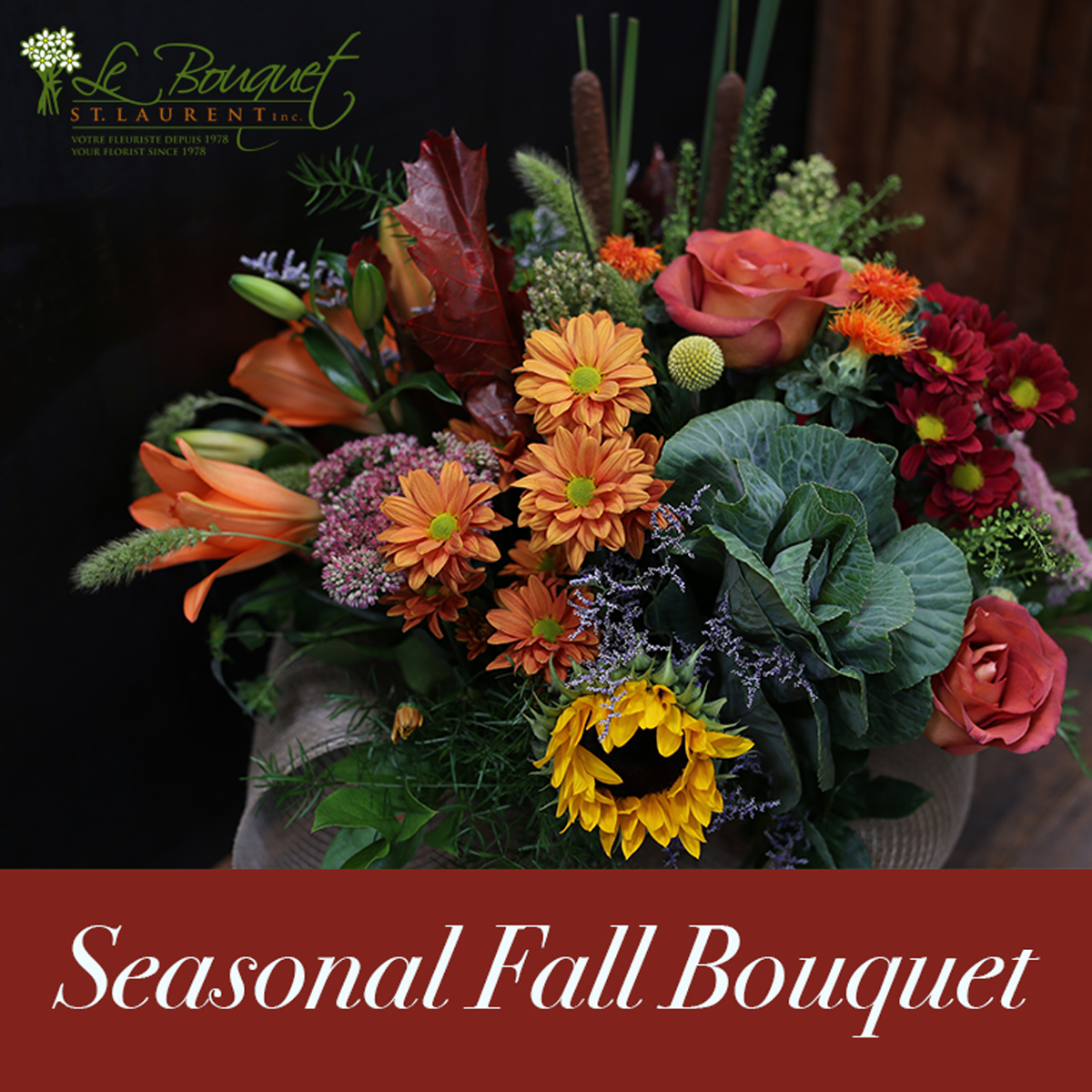 Montreal Flower Delivery service Le Bouquet seasonal fall bouquet
