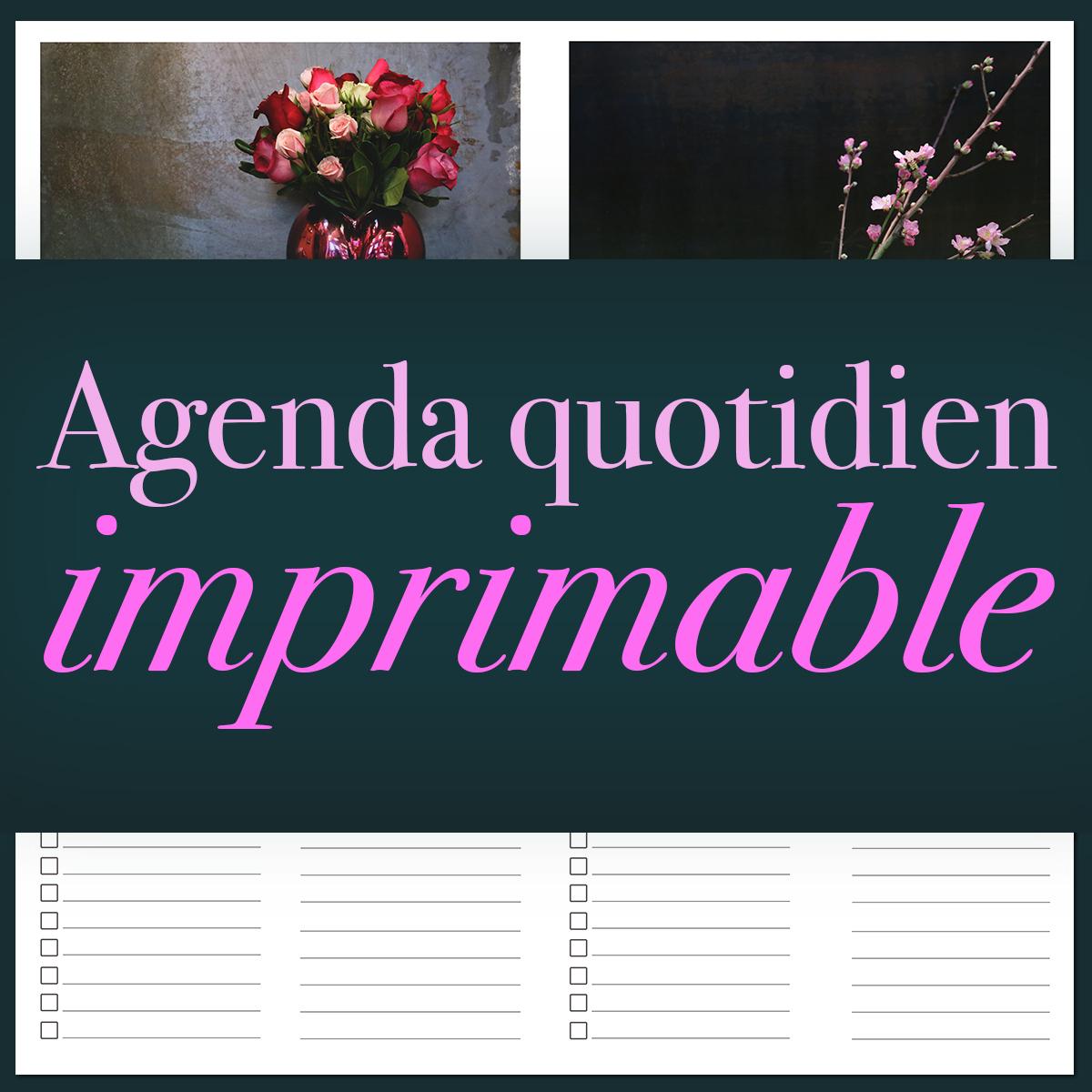 Agenda quotidien imprimable par Le Bouquet