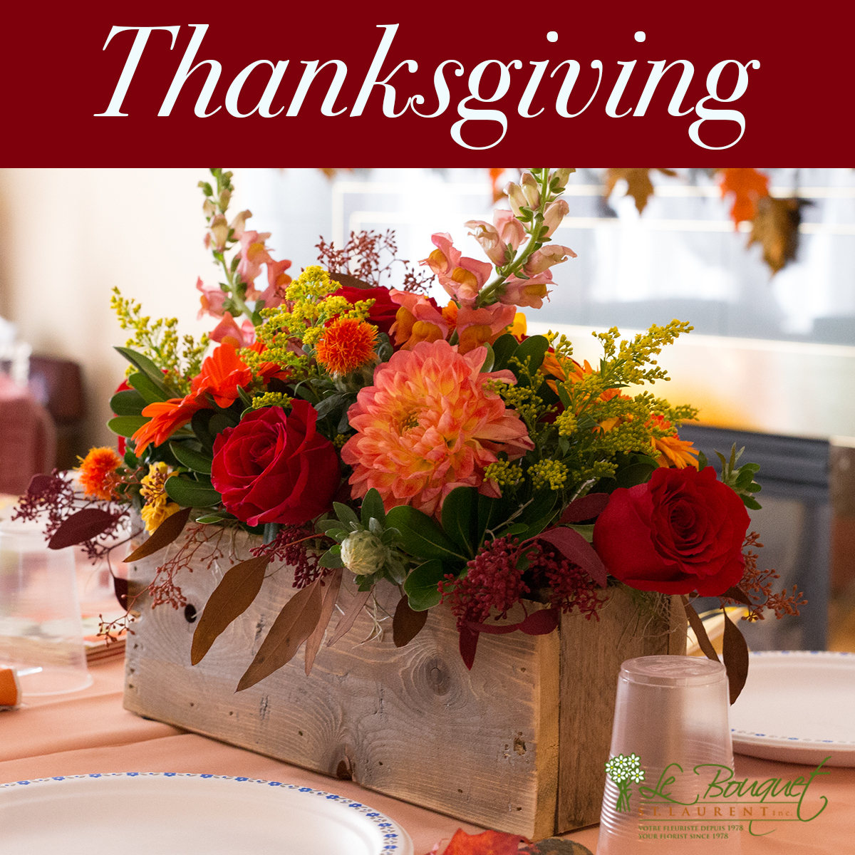 decorating thanksgiving with flowers by Le Bouquet St Laurent