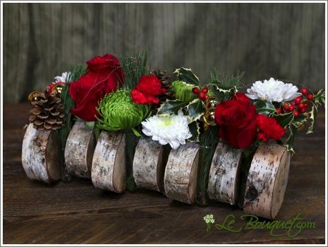 Yule Log Holiday bouquet arrangement from Le Bouquet