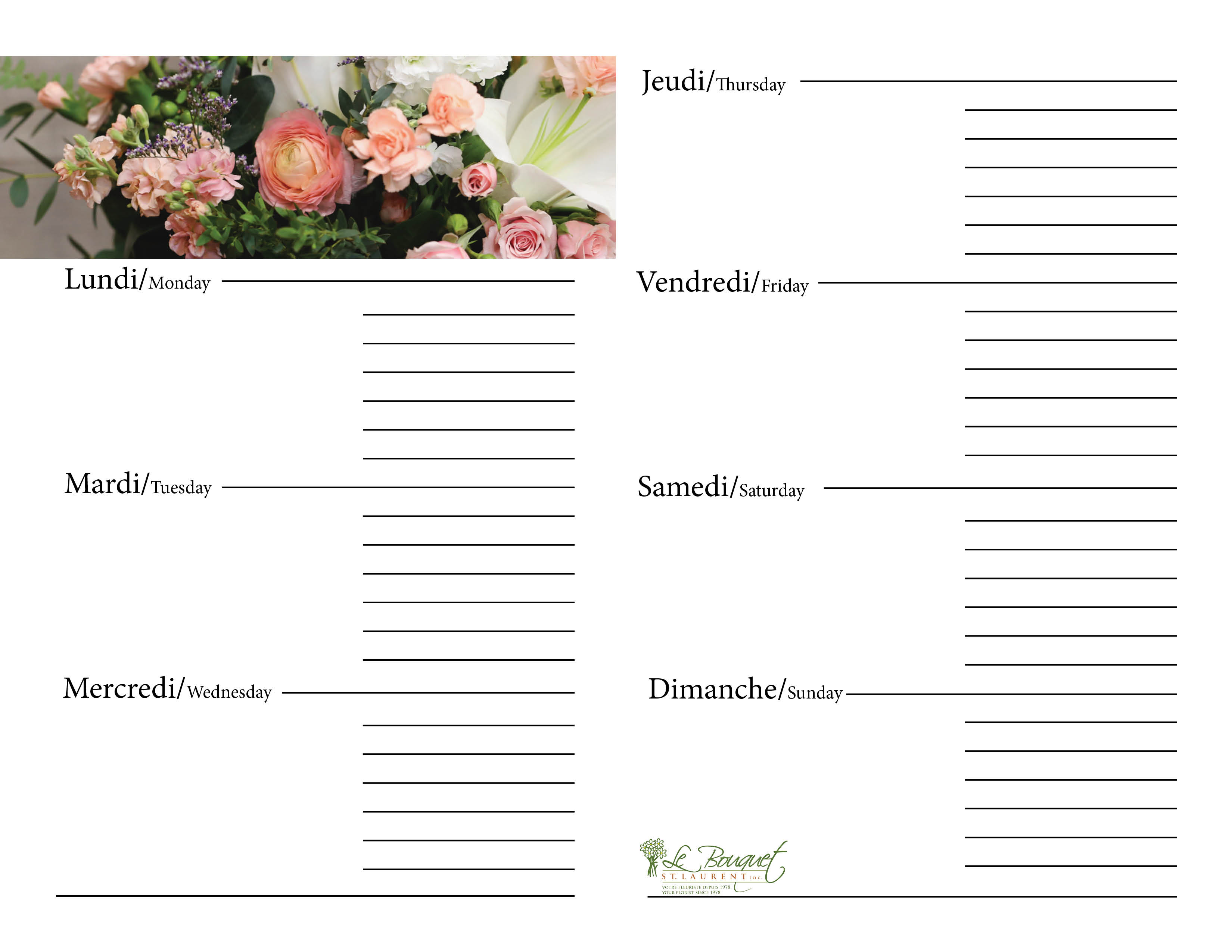 Free downloadable calendar journal from Montreal flower shop Le Bouquet St Laurent