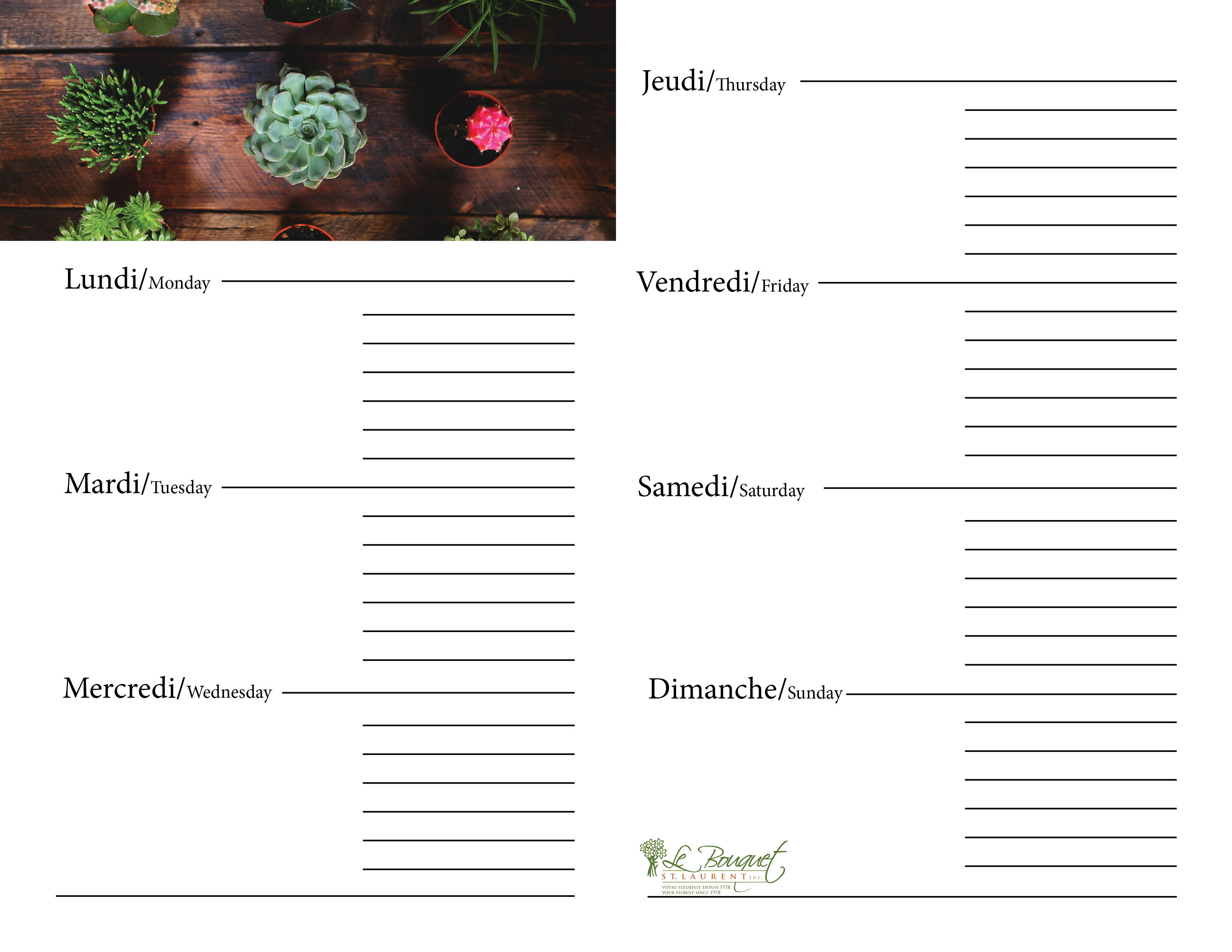 Free downloadable calendar journal with succulents from Montreal flower shop Le Bouquet St Laurent