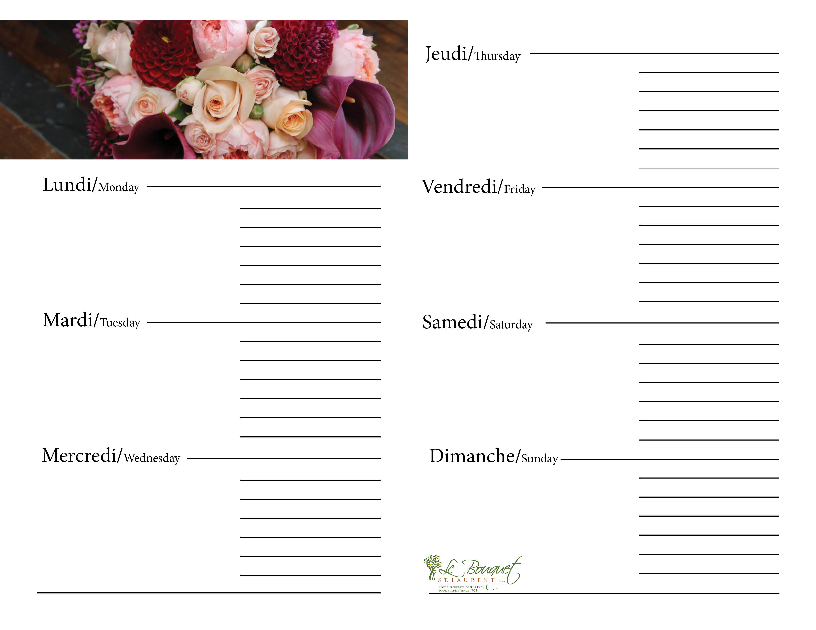 Free downloadable calendar journal with red dahlias from Montreal flower shop Le Bouquet St Laurent