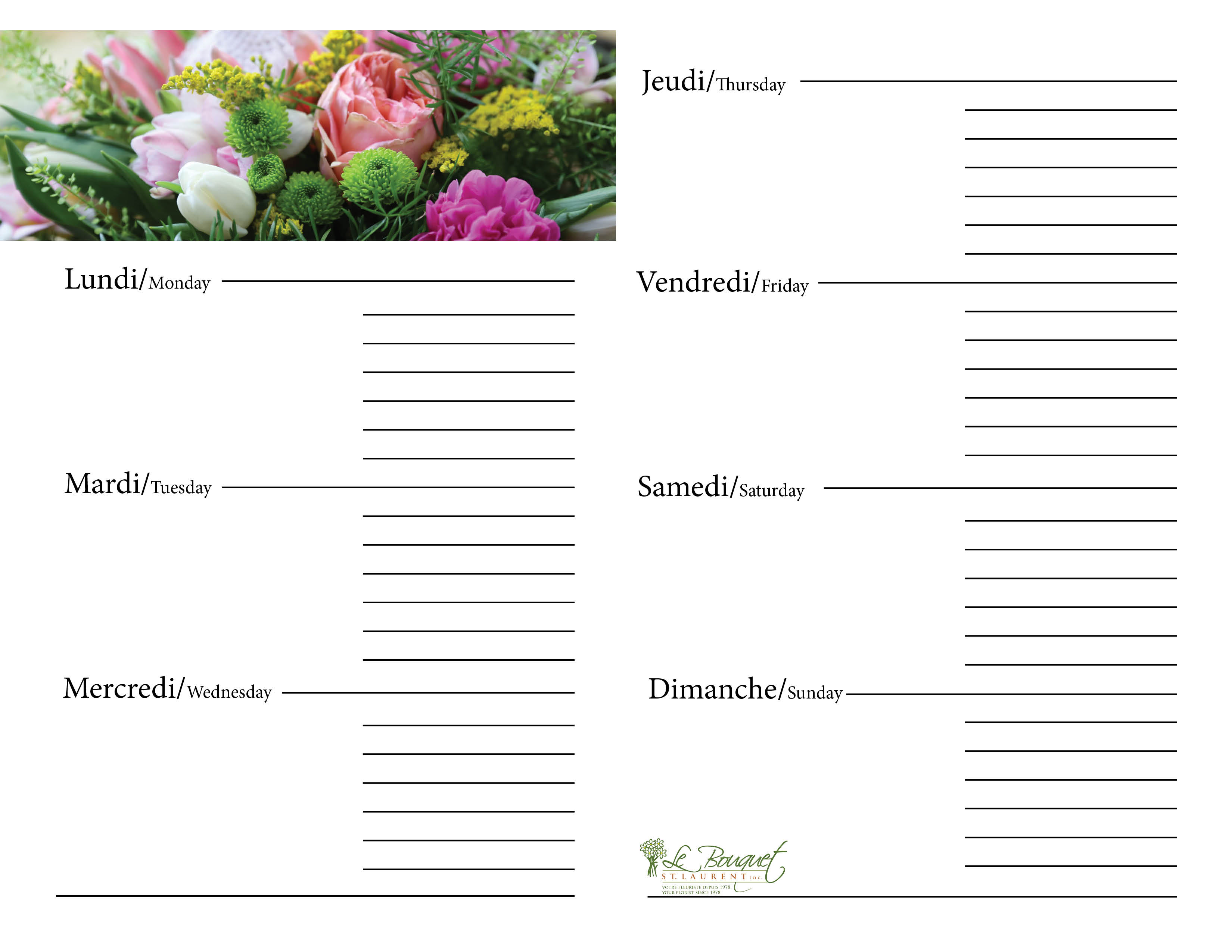 Free downloadable calendar journal with king protea from Montreal flower shop Le Bouquet St Laurent