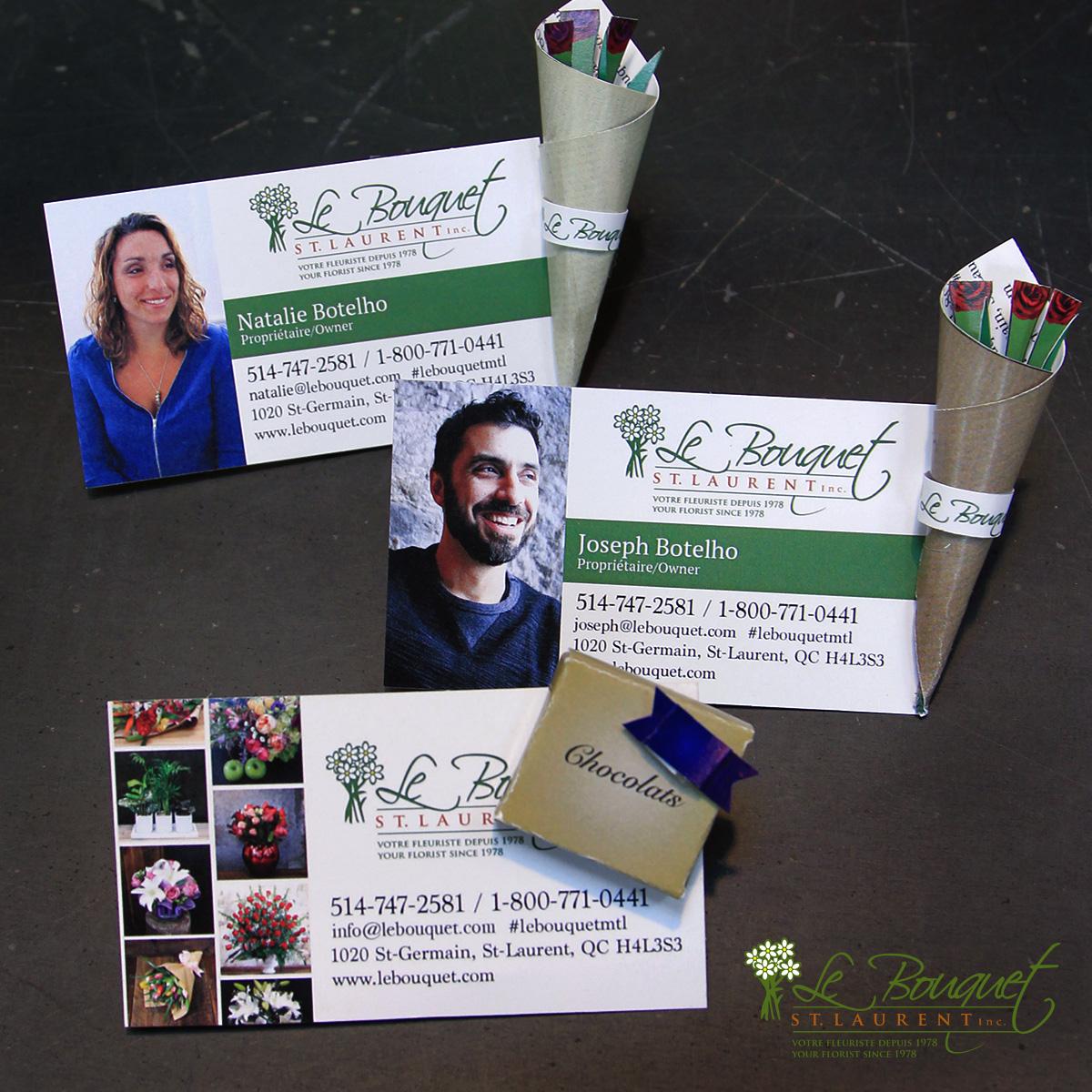 Montreal florist designs business card that fold into mini bouquets - Le Bouquet St Laurent