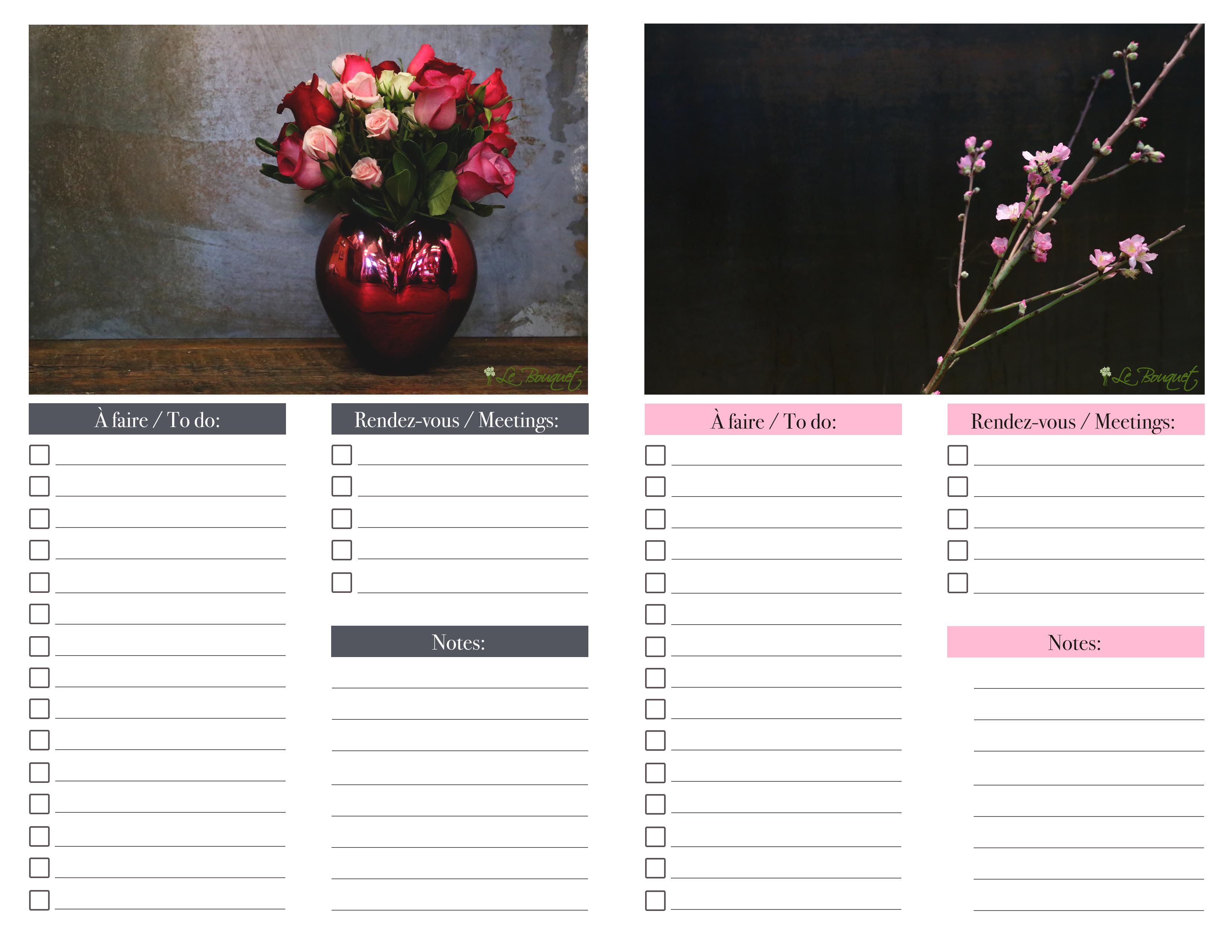 printable daily organizer - Agenda quotidien imprimable - rose