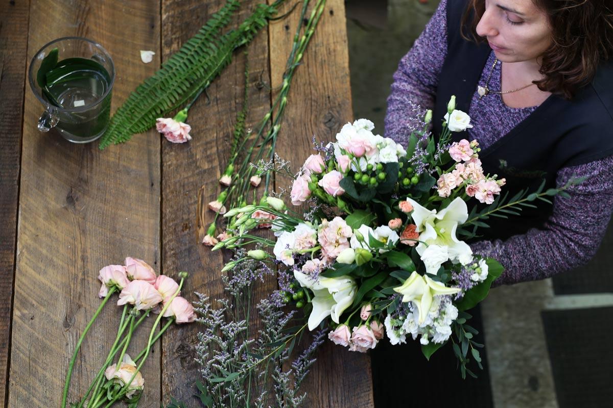 Beautiful draped Delilah bouquet by Le Bouquet