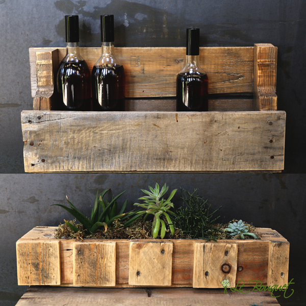 Planter upcycled into a wine rack by Le Bouquet