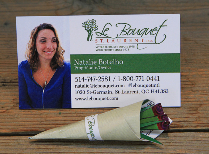 Montreal flower delivery shop Le Bouquet's creative business cards