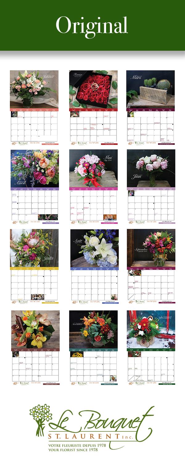 Original style printable calendar from florist Le Bouquet St Laurent