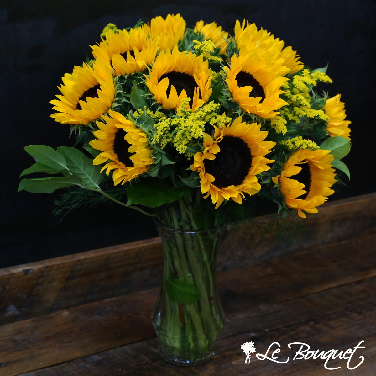 deluxe sunflower vase arrangement