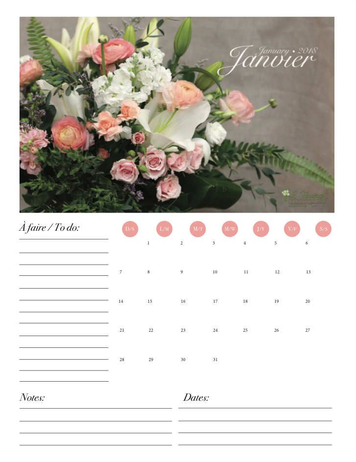 Free Pinterest inspired downloadable calendar from Montreal flower shop Le Bouquet St Laurent