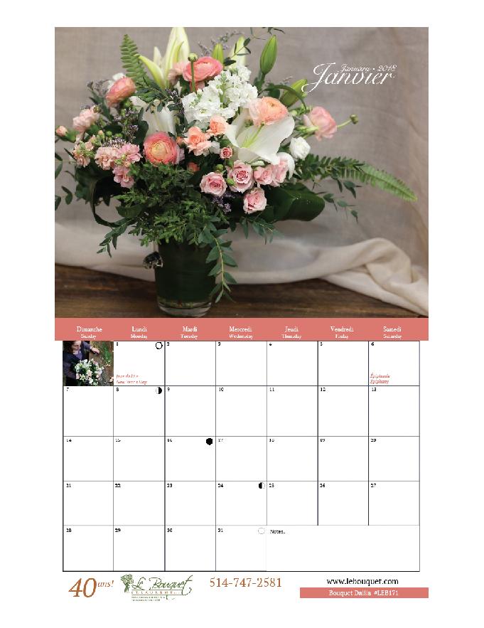 Get your free downloadable calendar from local flower shop Le Bouquet St Laurent