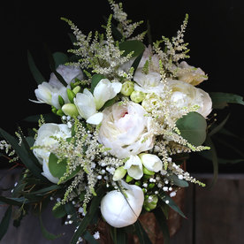 WB120 Crystal White Peony Bouquet by Le Bouquet Weddings