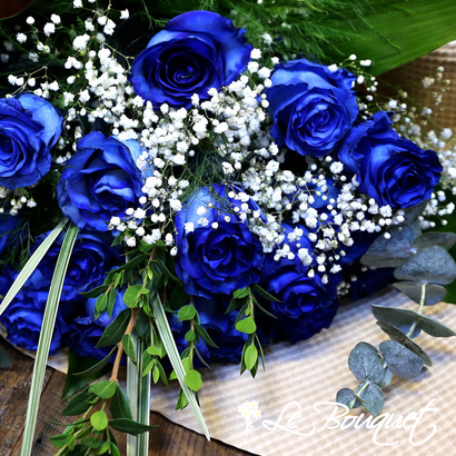 Blue Valentine's Day Roses at Le Bouquet