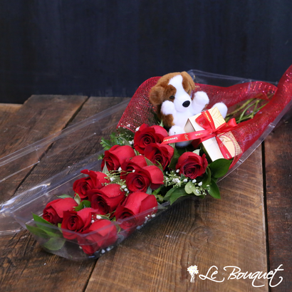 Puppy Love Roses and Chocolates at your neighborhood florist