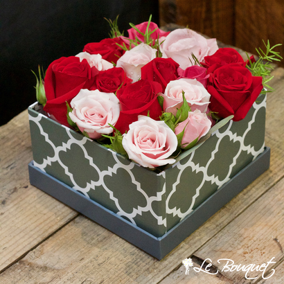Box of roses at Le Bouquet