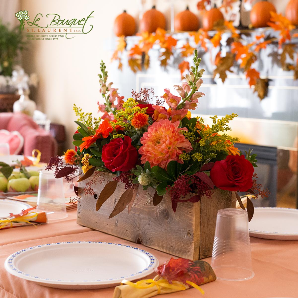 thanksgiving table decoration by florist le bouquet st laurent